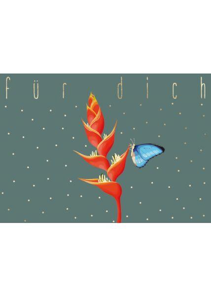 Postkarte FreundschaftSchmetterling blau auf Blüte - Für Dich