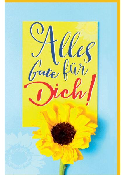 Grußkarte Sonnenblume blau gelb