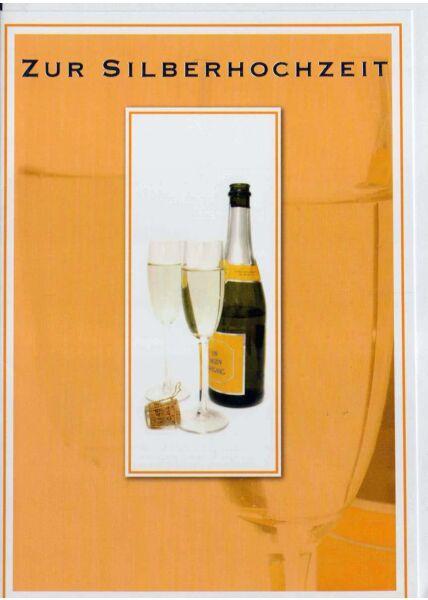 Silberhochzeit: Sektflasche mit zwei Gläsern
