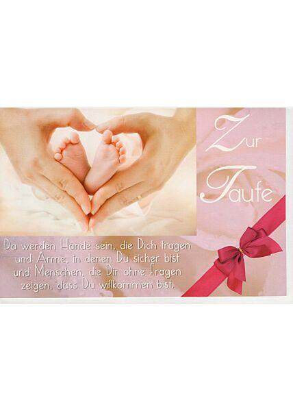 Glückwunschkarte Taufe mit kleinem Foto Babyfüße Hand