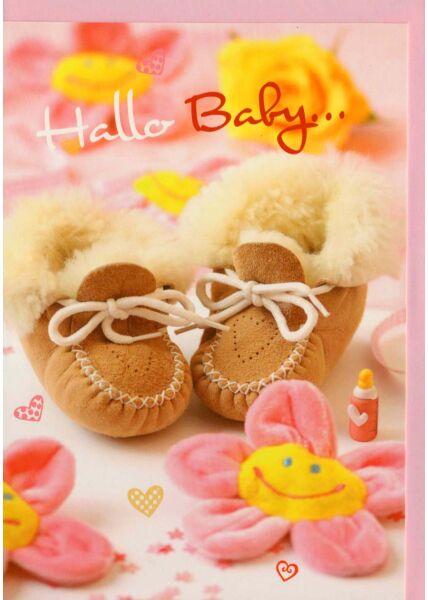 Geburtenkarte Hallo Baby rosa