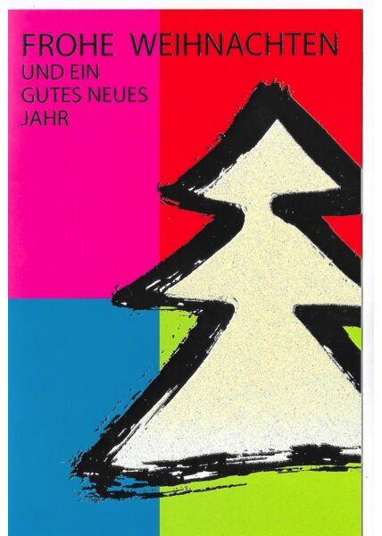Weihnachtskarte moderne Farben Tannenbaum