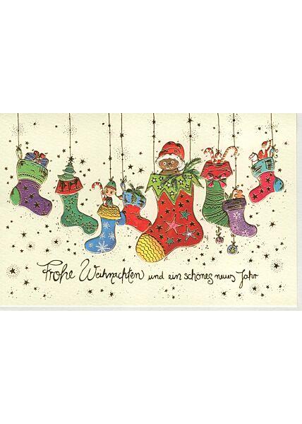Weihnachtsgrußkarten Weihnachtsgrußkarte Naturkarton Socken premium