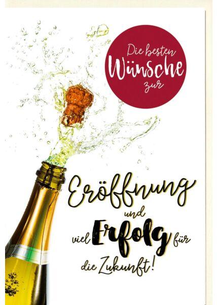 Karte Eröffnung Geschäft Korken knallt aus Champagnerflasche