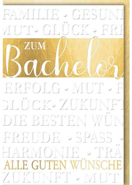 """Glückwunschkarte Bachelor - """"Alle guten Wünsch"""""""