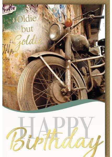 Geburtstagskarte - verschmutztes altes Motorrad