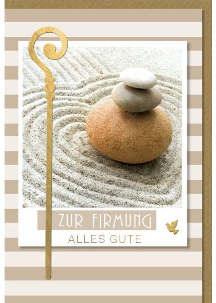 Grußkarte Firmung Steine Goldfolie hochwertig