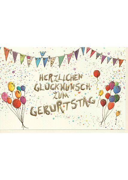 Karte Geburtstag Bunte Girlande, bunte Luftballons, Naturkarton, mit Goldfolie und Blindprägung