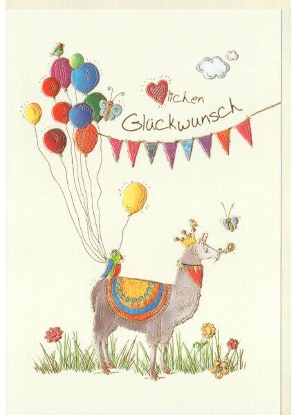 Glückwunschkarte Lama mit Luftballons, Vögel, Schmetterlinge, Blumen, Naturkarton, mit Goldfolie und Blindprägung