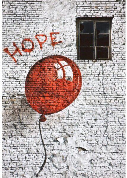 Kunstpostkarte The red ballon of hope