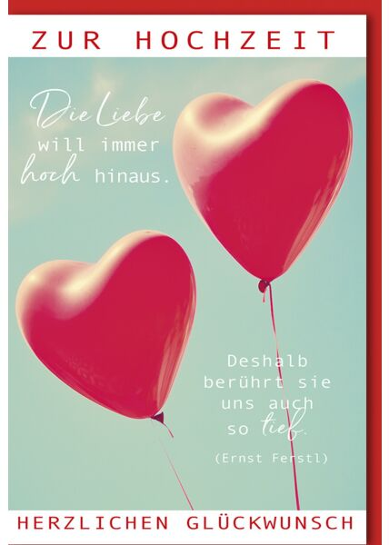 Glückwunschkarte Hochzeit zwei Herzluftballons