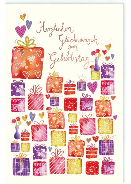 Glückwunschkarte Geburtstag Geschenkschachteln