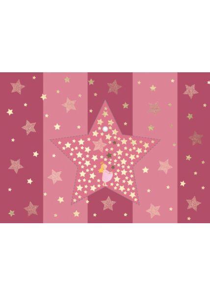 Weihnachtspostkarte Engel fängt Sterne