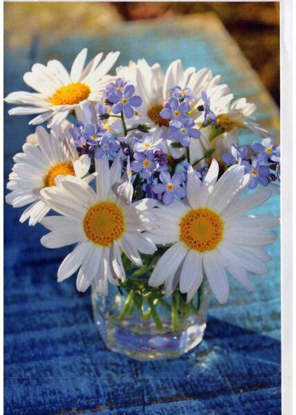 Karte blanko: Blumenvase mit Margeriten
