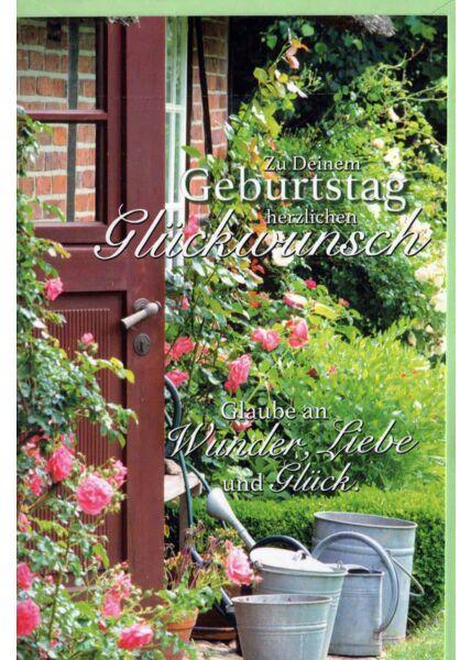 Geburtstagskarte Land Natur: Rosen, Gießkanne, Tür