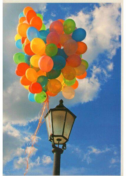 Karte ohne Text Laterne und Luftballons