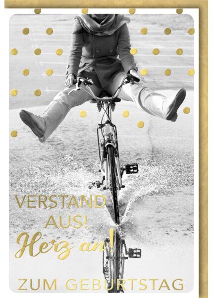 Geburtstagskarte lustig Spruch Fahrradfahrer durch Wasserlache