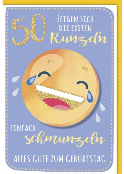 Geburtstagskarte - 50., Lachender Emoji