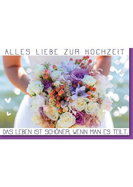 Hochzeitskarte - Bunter Hochzeitskartesstrauß