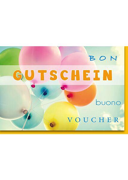 Gutscheinkartekarte Grußkarte Gutschein Bunte Luftballons