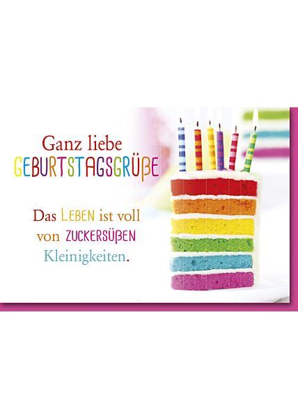 Geburtstagskarte mit Spruch Bunt gestreifter Kuchen