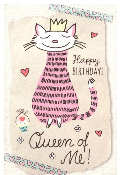 Karte Geburtstag Katze Queen of Me