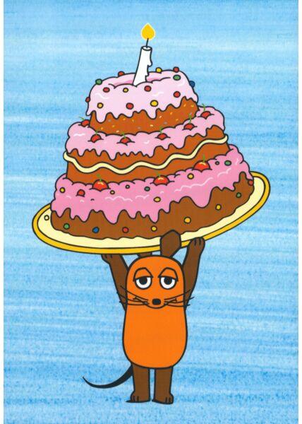 Maus-Postkarte Geburtstagstorte mit Maus