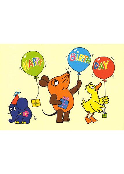 Maus-Postkarte Happy Birthday