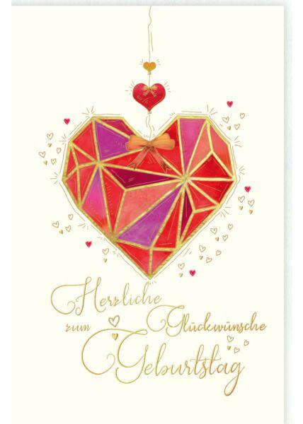 Glückwunschkarte Geburtstag Herz, Naturkarton, mit Goldfolie und Blindprägung