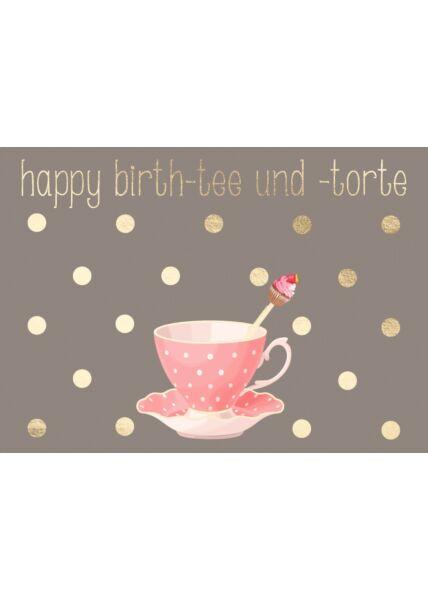 Geburtstagspostkarte Spruch Happy Birth-tee und -torte