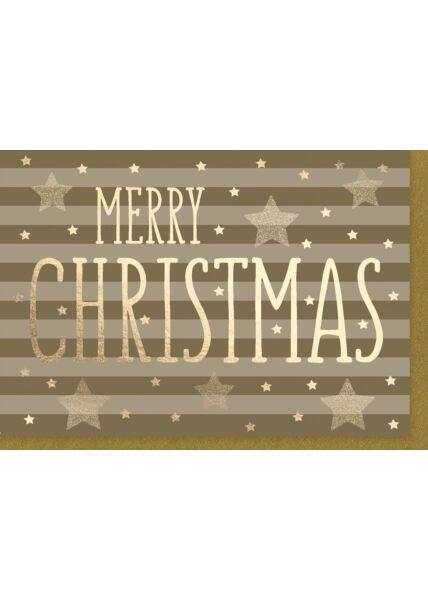 Weihnachtskarte: Merry Christmas Veredelt unter Verwendung von Goldfolie und Glitzer
