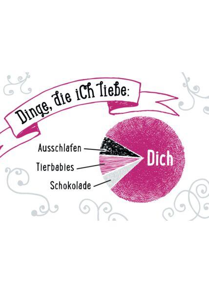 Postkarte Liebe Dinge die ich Liebe: Dich