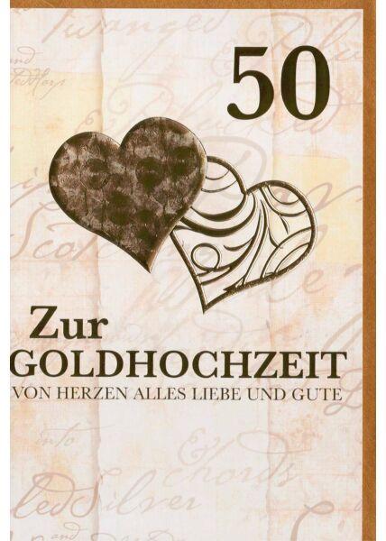 Glückwunschkarte Goldhochzeit zwei Herzen premium