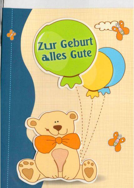 Glückwunschkarte Geburt Baby Illustration Bär