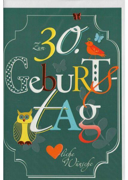 Geburtstagskarte 30 premium grün