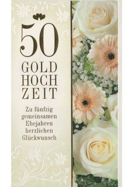 Glückwunschkarte goldene Hochzeit fünfzig Ehejahre
