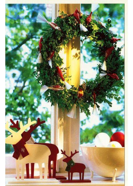 Blanko Weihnachtskarte Kranz Fenster