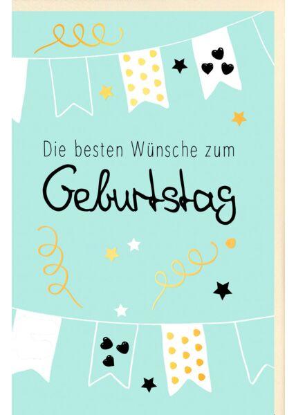 Geburtstagskarte Fahnenketten, mit Goldfolie