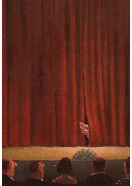 Postkarte Bühne Schwein