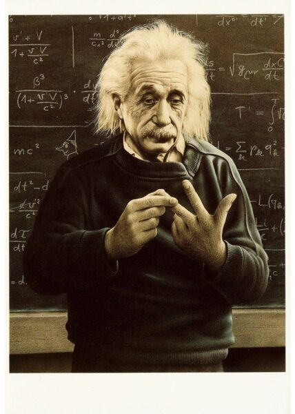 Albert Einstein Postkarte Illustration