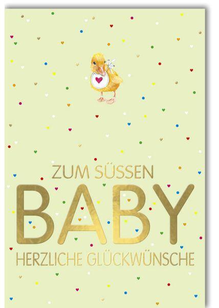 Glückwunschkarte Geburt Baby - Küken mit Lätzchen