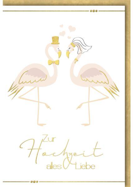 Hochzeitskarte premium zwei Flamingos