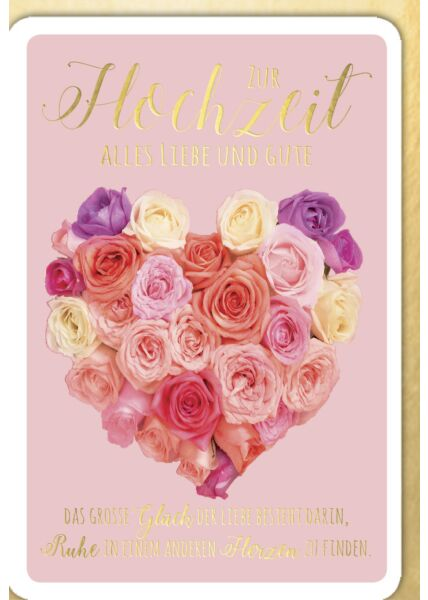 Hochzeitskarte - Herz aus Rosen