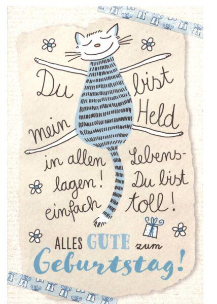 Karte Geburtstag Katze Du bist mein Held