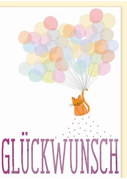 Geburtstagskarte: Glückwunsch- Katze mit Luftballons