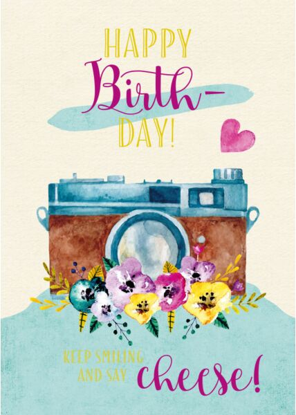 Geburtstagspostkarte Happy Birthday! Keep Smiling and say Cheese!