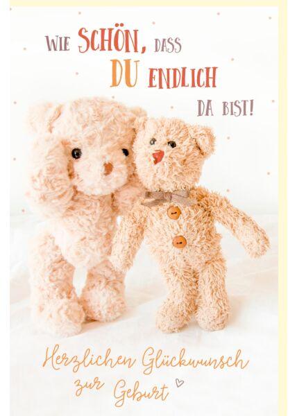 Glückwunschkarte zur Geburt Zwei Teddybären endlich da