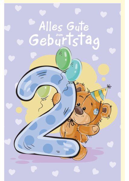 Geburtstagskarte für Kinder mit Teddybär und Partyhut, Luftballons 2 Geburtstag