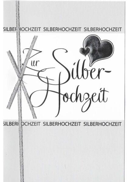 Glückwunschkarte Silberhochzeit hochwertig mit Schleife