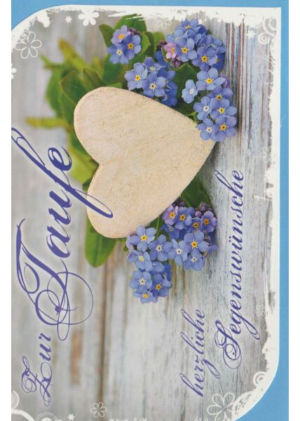 Glückwunschkarte Taufe Holzherz